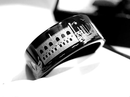 Wedding Band,  Venice Pattern Engraved Black Tungsten Carbide Ring