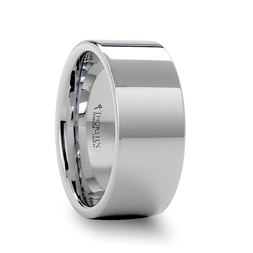 Pipe Cut White Tungsten Carbide Ring - 10mm