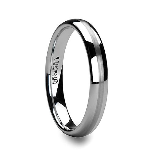 Round White Tungsten Carbide Ring, Satin Stripe