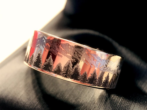 Mountains Range Engraved Tungsten Wedding Band Unique Mens Wedding Band