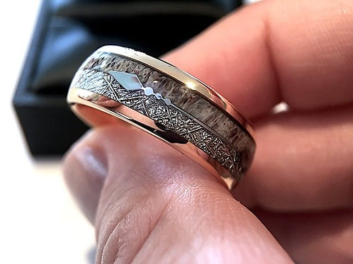 Elk Antler and Meteorite Inlay Rose Gold Tungsten Ring by Rings Paradise - 8mm