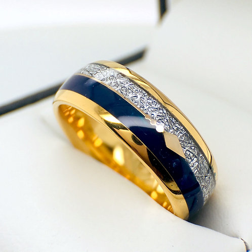 Yellow gold, tungsten ring, wedding bands, mens promise ring, anniversary gift, engagement ring, meteorite, blue agate, arrow