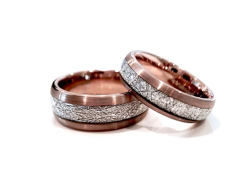 Rose Gold Brushed Meteorite Ring, Tungsten Carbide Wedding Band, Engagement Ring, Anniversary ring, Promise , Rose Gold