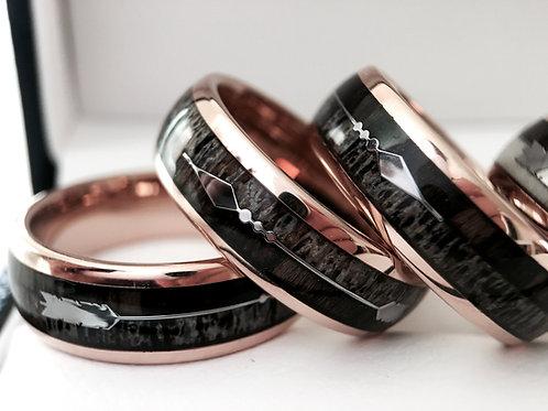 Rose Gold Tungsten Ring, Antler Ring, Wood Ring, Mens Tungsten Band, Arrow Inlay Ring, Men Wedding Band, Men Antler Ring, Wom