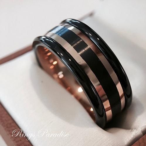 Black Rose Gold Tungsten Wedding Band, Black Tungsten Ring, Matching Rings Set