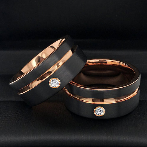 10 mm & 12 mm Personalized Tungsten Wedding Bands with White Diamond Stone Setting, Black and Rose Gold Tungsten Carbide
