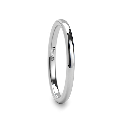 Round White Tungsten Engagement  Ring for Her 2mm