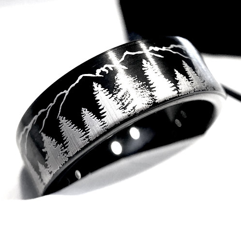 Fir Trees and Mountains Black Brushed Tungsten Ring, Mens Women Wedding Bands