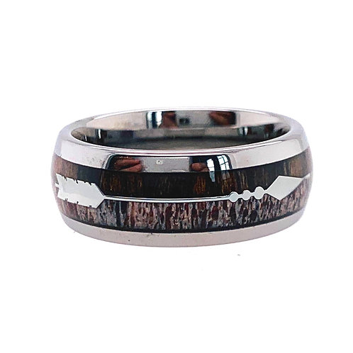 Mens Wedding Band, Mens Rings, Deer HunterRing, Antler Ring, His and Hers Ring