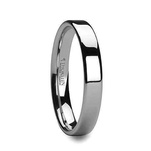 Pipe Cut White Tungsten Carbide Wedding Ring - 4mm