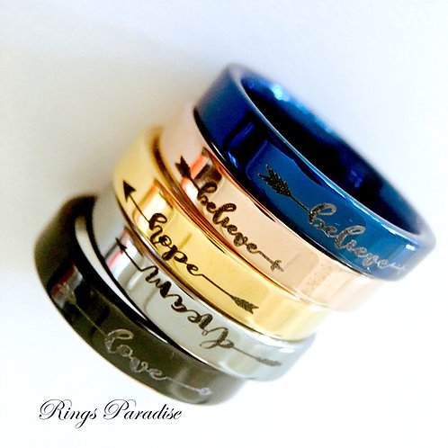 Stackable Tungsten Rings, Love, Dream, Believe, Hope Ring