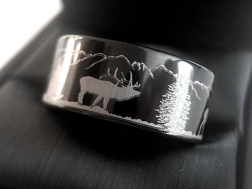 Wedding Bands, Deer Antler Ring, Mountains Forest landscape, Mens and Women Ring