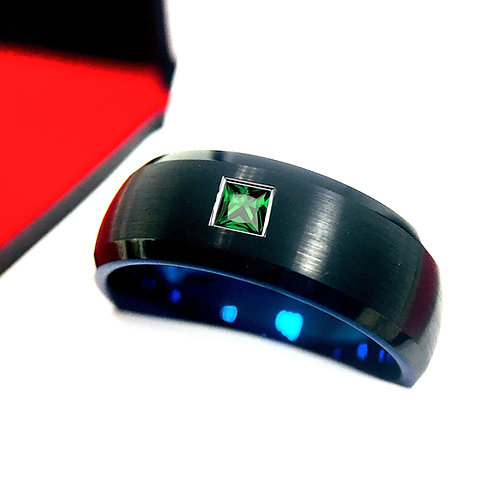 Black and Blue Tungsten Ring with Green Emerald Stone Setting 8mm