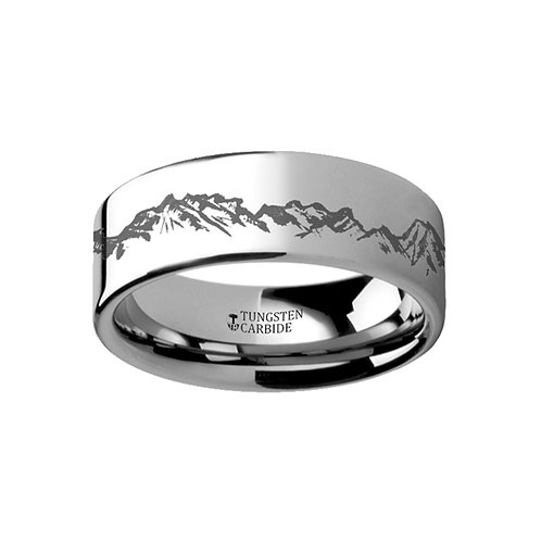 Peaks Mountain Range Outdoors Tungsten Ring