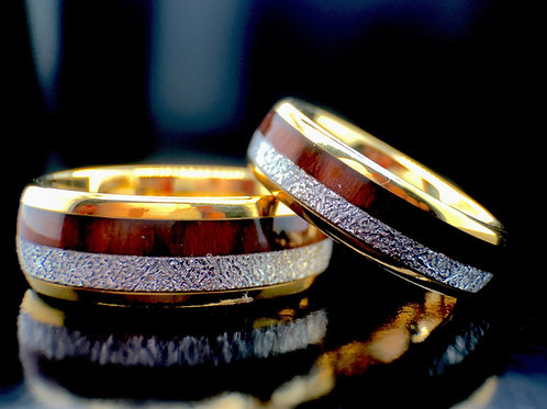 Matching Rings Set Yellow Gold Tungsten Ring, Wood and Meteorite Inlay Bands