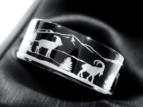 Mountains Goats Pattern Engraved Black Tungsten Ring, Mens Ring, Women Ring