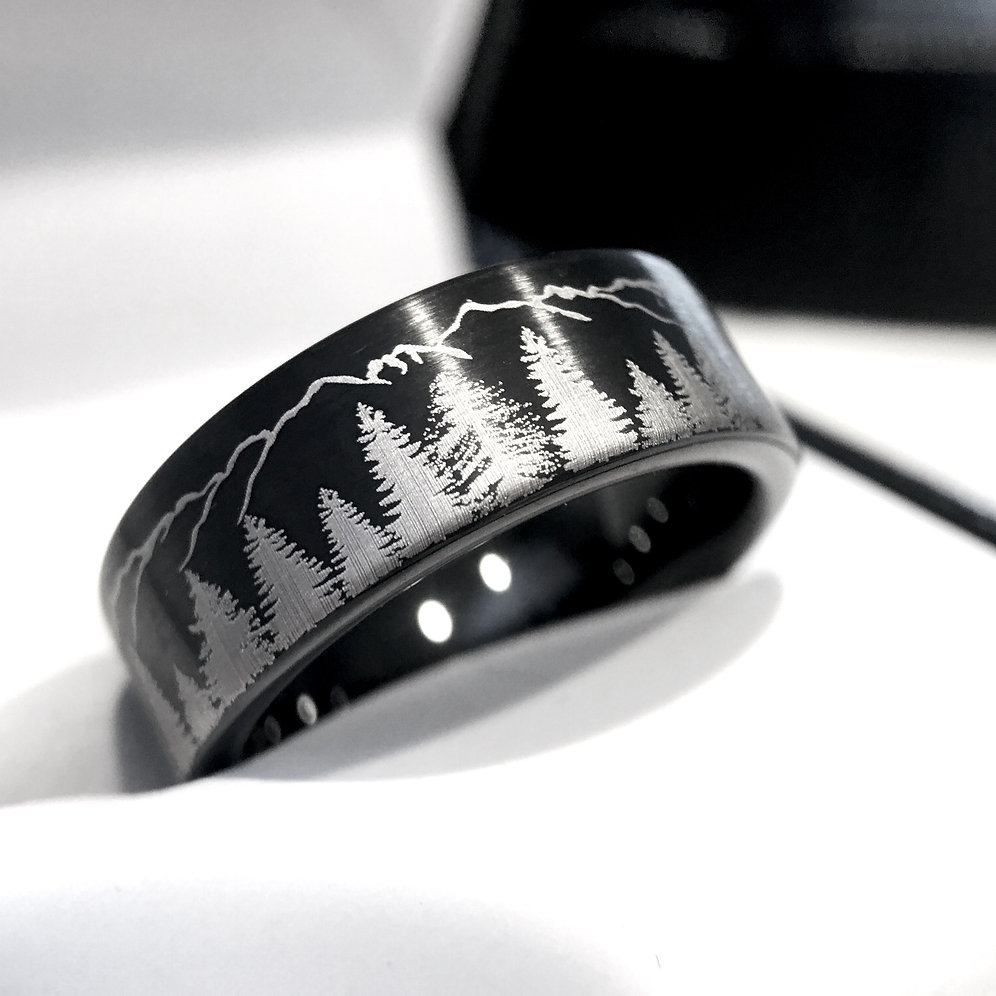 Mens Tungsten Wedding Bands.Fir Trees And Mountains Black Brushed Tungsten Ring Mens Women Wedding Bands