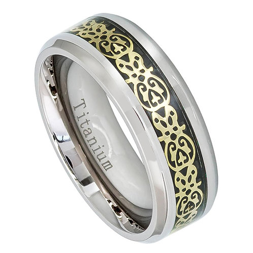 Titanium Ring with Cut-Out Aztec Figure Inlay