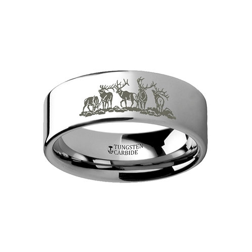 Five Deer Stag Hunting Ring Tungsten Wedding Band