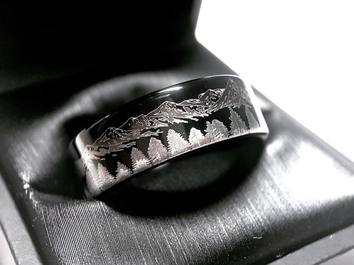 Black Tungsten Wedding Bands Fir Trees in Mountains Forest landscape Pattern Engraved Men Women Tungsten Carbide Ring His Her