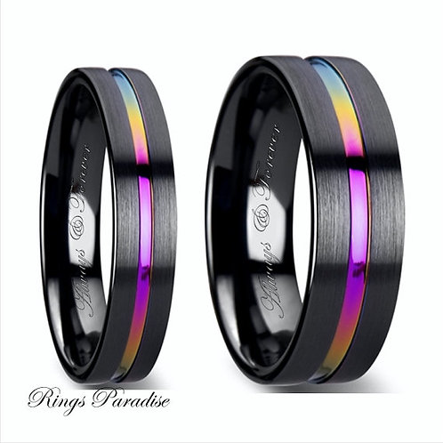 Flat Black Ceramic Ring Brushed & Rainbow Groove