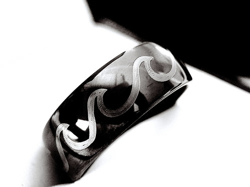 Ocean Wave Ring, Mountain Ring, Black Tungsten Wedding Band, Mens Tungst