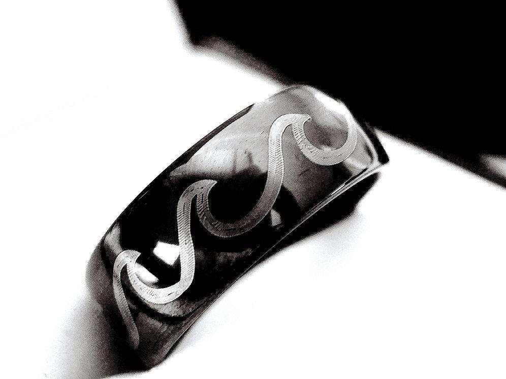 Mens Tungsten Wedding Bands.Ocean Wave Ring Mountain Ring Black Tungsten Wedding Band Mens Tungst