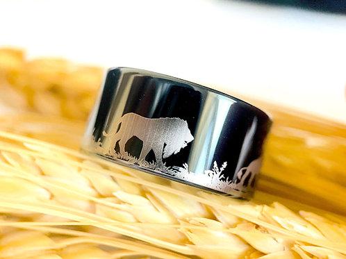 Lions Pattern Engraved Black Brushed Tungsten Ring, Hunter Ring, Promise Ring