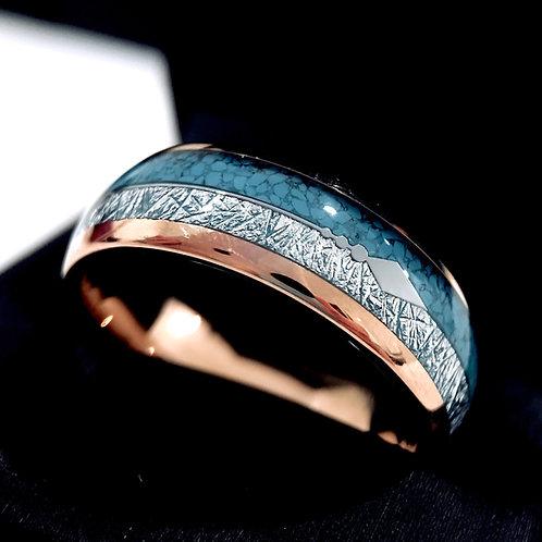 Turquoise and Meteorite Tungsten Ring, Wedding Bands, Rose Gold Arrow Ring  8mm, Wedding Rings, Mens ring, Women Wedding Ring