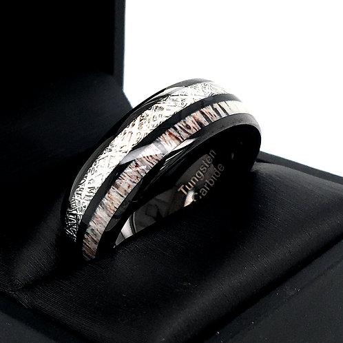 Mens Tungsten Ring, Wedding Bands, Antler Ring, Black Tungsten Ring Wedding Ring