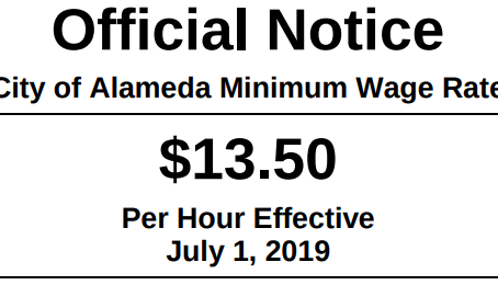 Minimum wage increase in the city of Alameda
