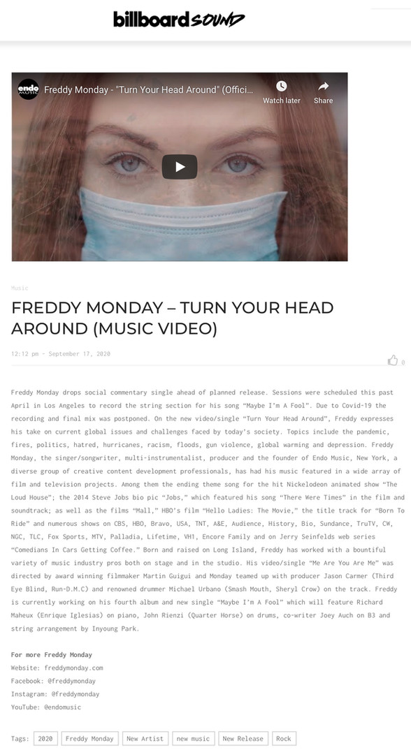 "Billboard - ""Turn Your Head Around"""