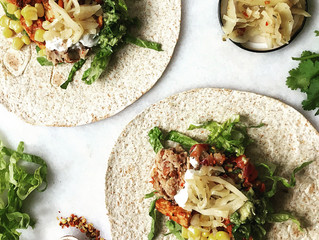 Sweet & Spicy Vegan Tempeh Tacos with Sauerkraut