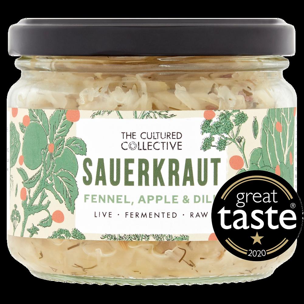 Jar of raw vegan Fennel, Apple & Dill Sauerkraut