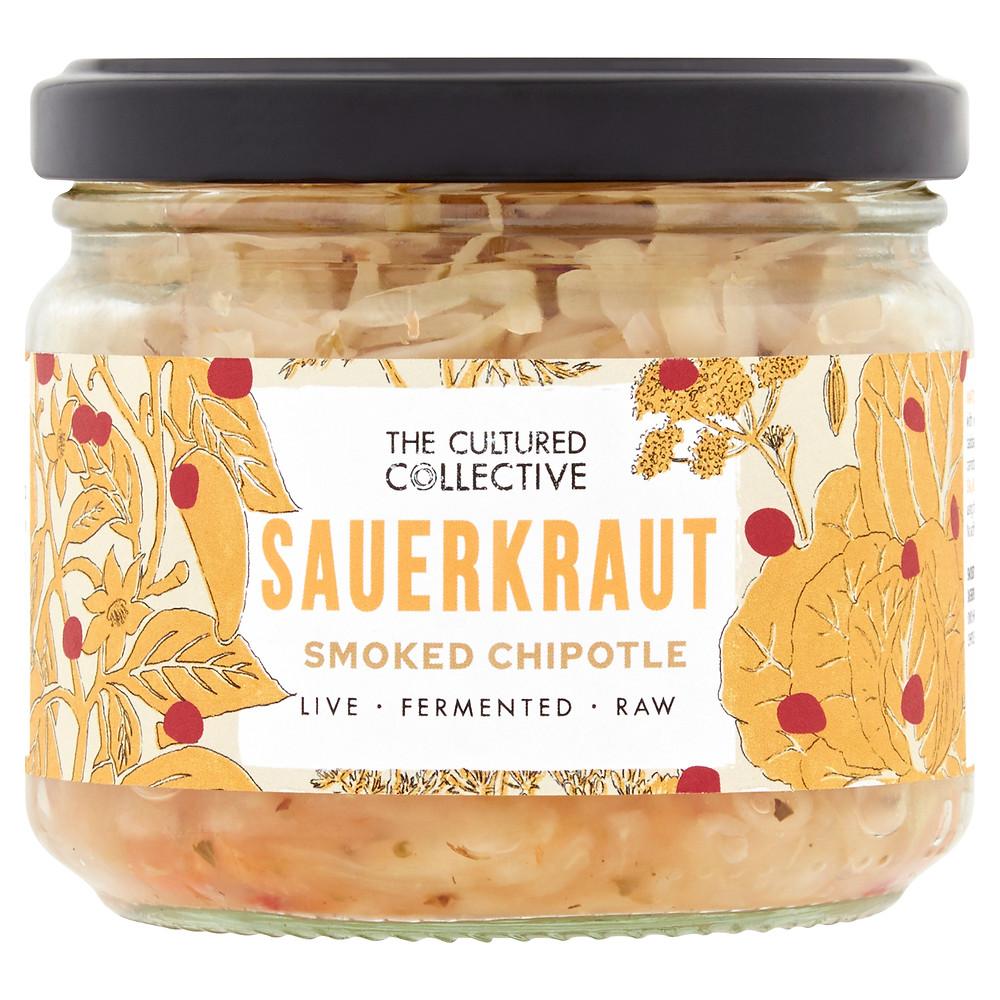 Jar of raw Smoked Chipotle Sauerkraut
