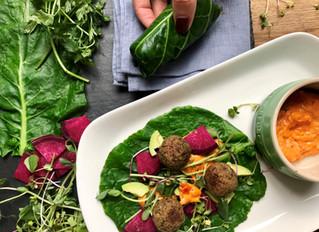 Collard Wraps with Tempeh & Walnut Falafel & Kimchi Veganaise