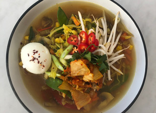 Super Simple Vegetable Noodle Broth With Kimchi