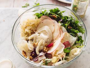 Fresh Fennel Waldorf Salad w Sauerkraut