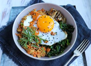 Eva Humphries' Duck Egg Bibimbap w White Miso & Turmeric Kimchi