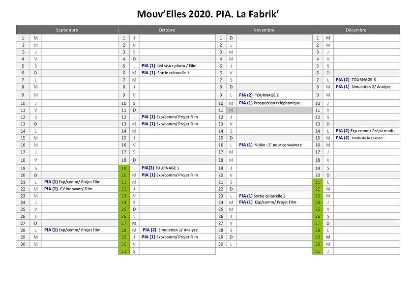 2020 calendrier MOUV'ELLES LA FABRIK 2e