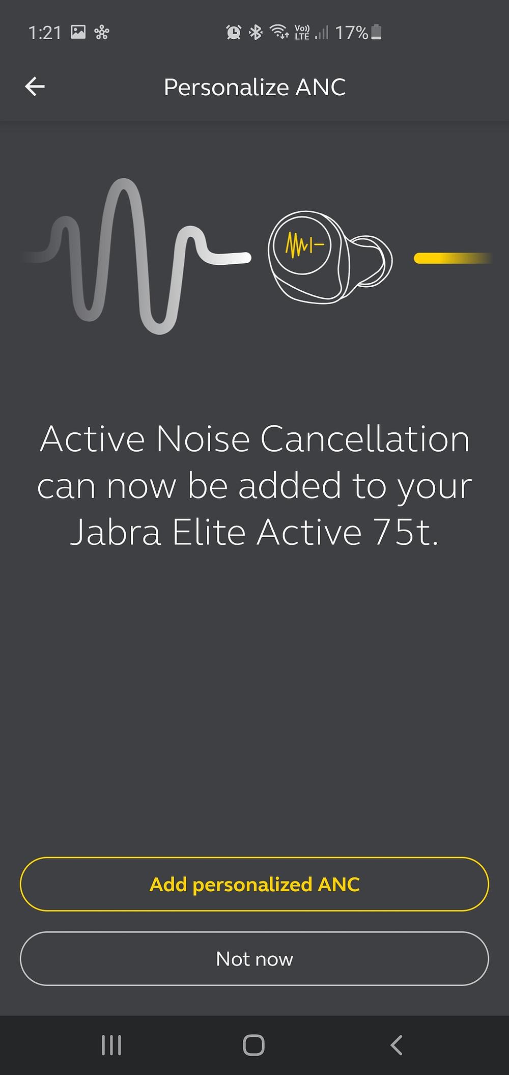 Jabra Elite 75T personalized ANC