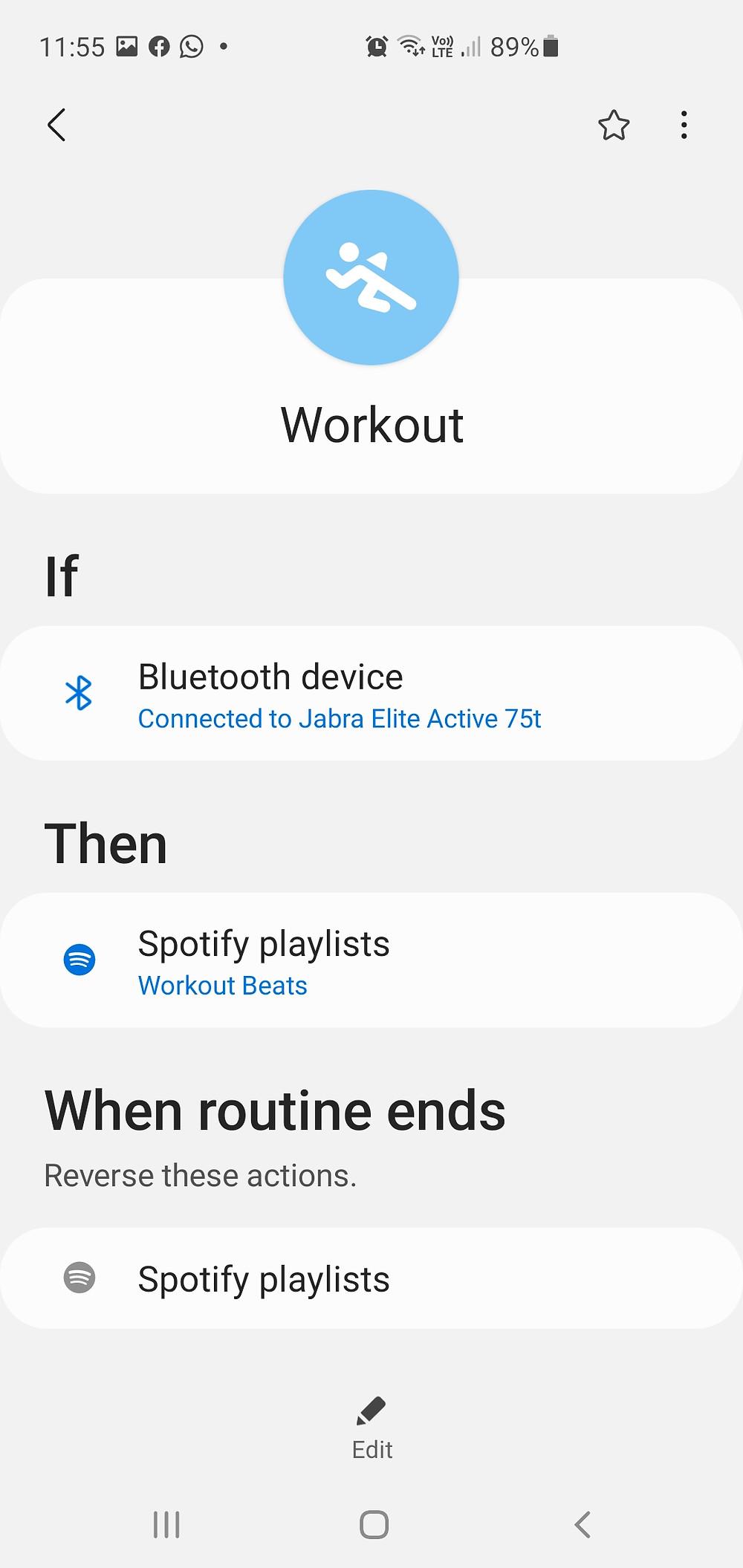 Spotify workout routine bixby