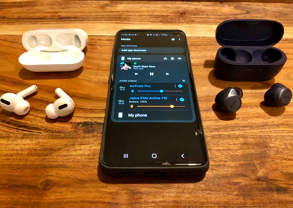 Samsung can pair and play music on two Bluetooth speakers or two Bluetooth headphones with the integrated Android Dual Audio feature