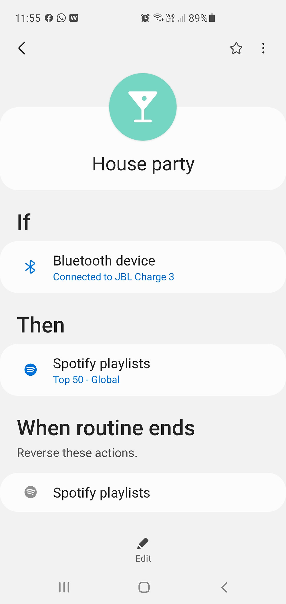 Bixby routine for your home Bluetooth speakers