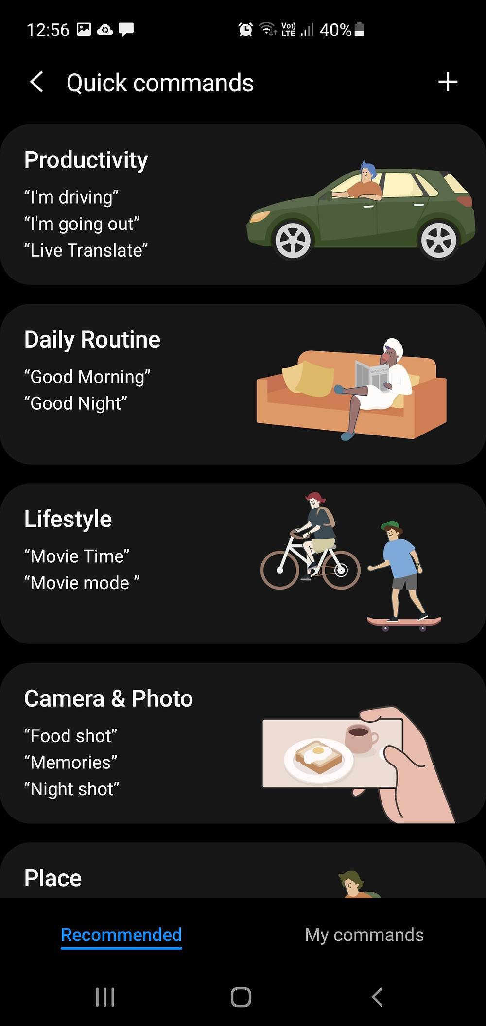 Samsung Bixby recommended quick commands
