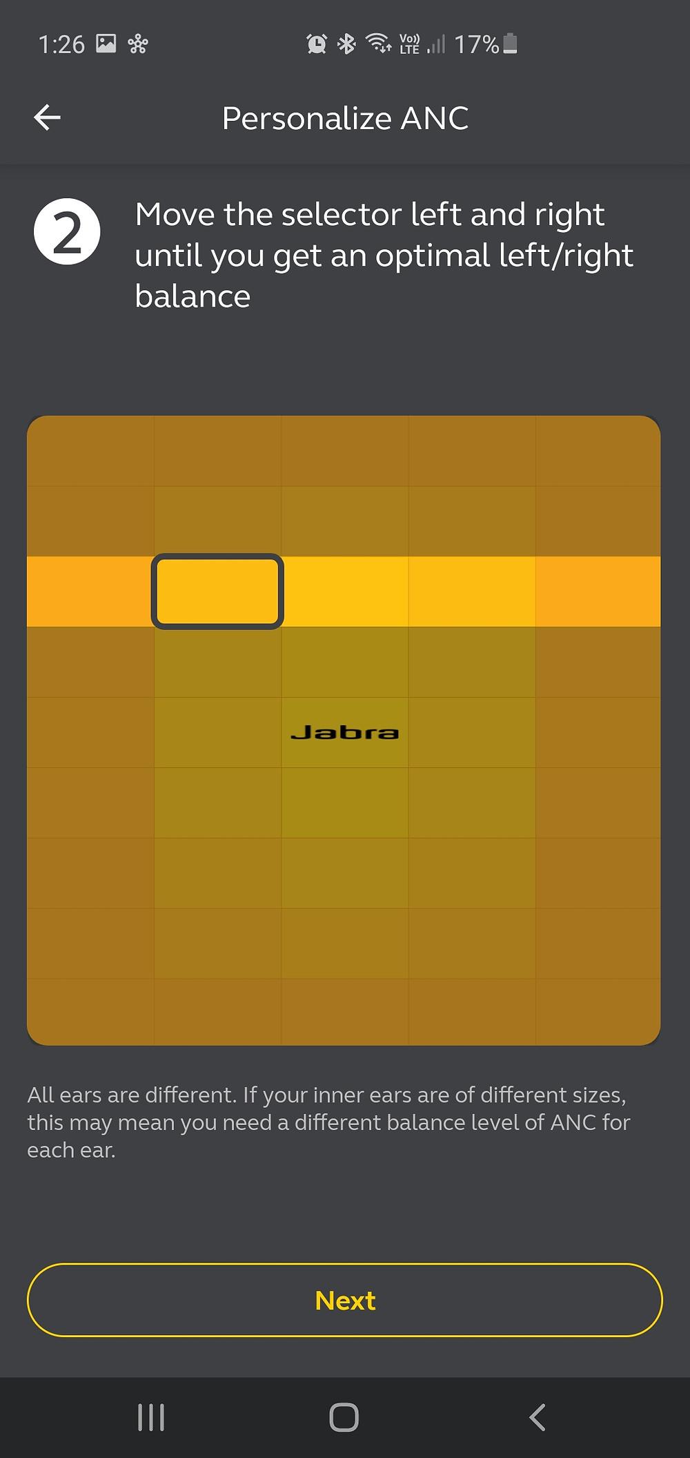 Jabra ANC horizontal selector