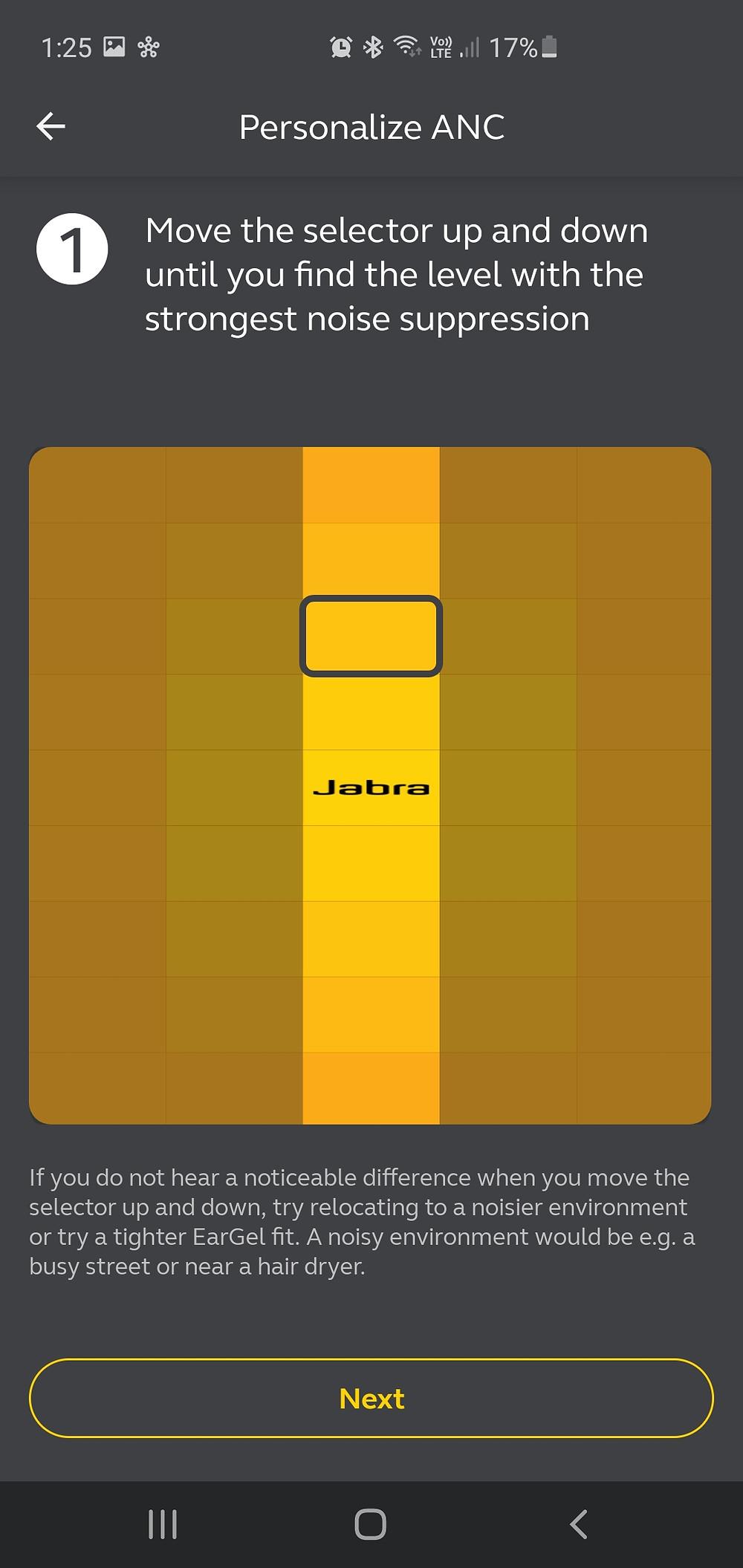 Jabra ANC Vertical selector