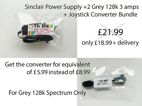 Spectrum 128k +2 Grey Power supply + joystick converter adapter bundle