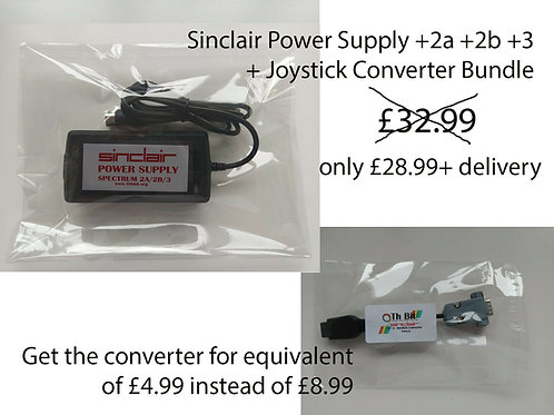 ZX Spectrum +2 +2a / b +3 PSU Power supply + joystick converter adapter bundle