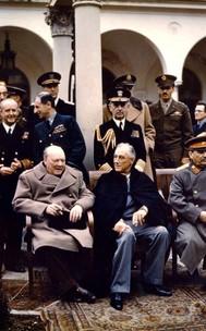 Winton Churchill, Franklin Roosevelt and Joseph Stalin meeting post-war